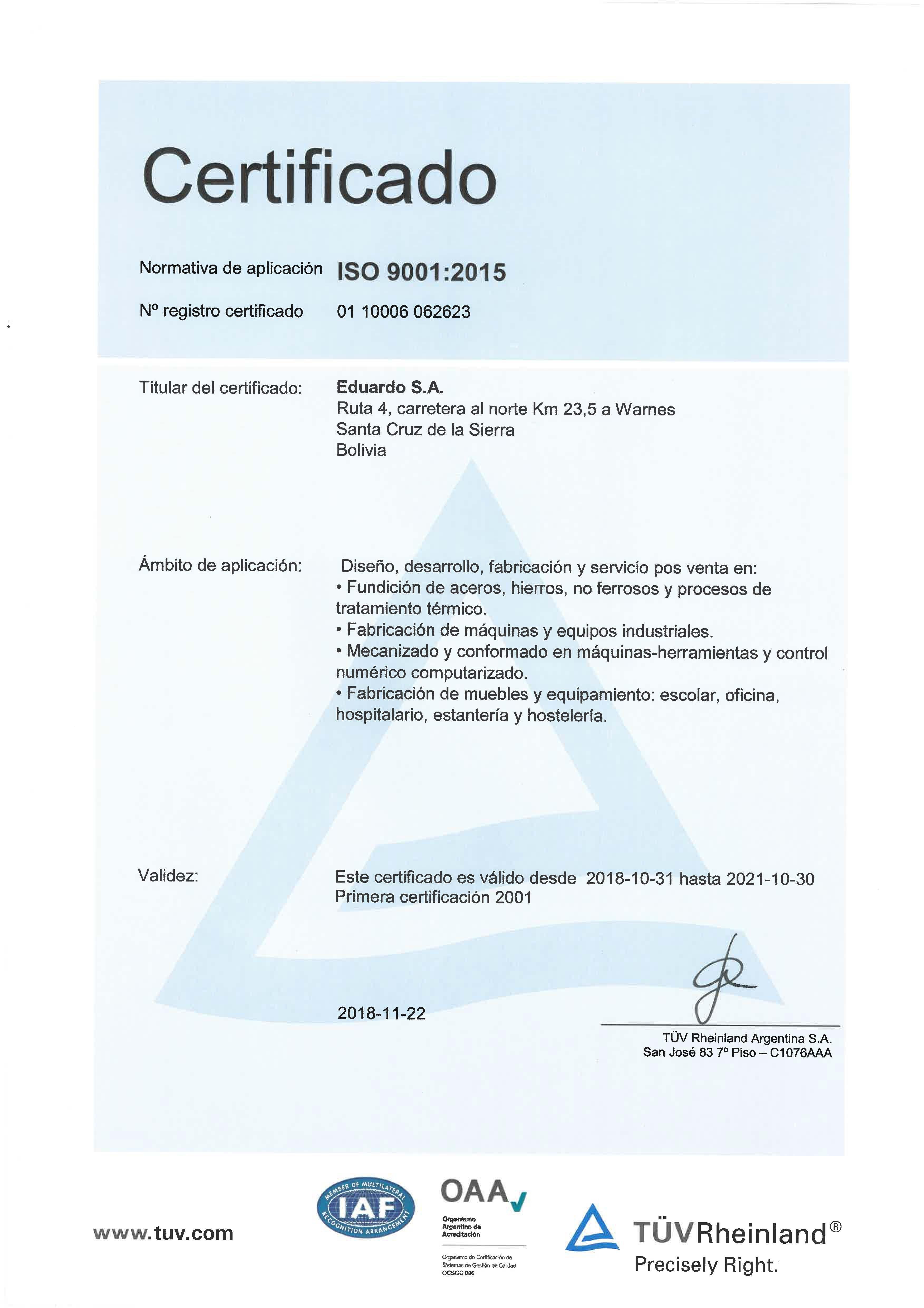 Certificados ISO 9001 EDUARDO 2018 ESP